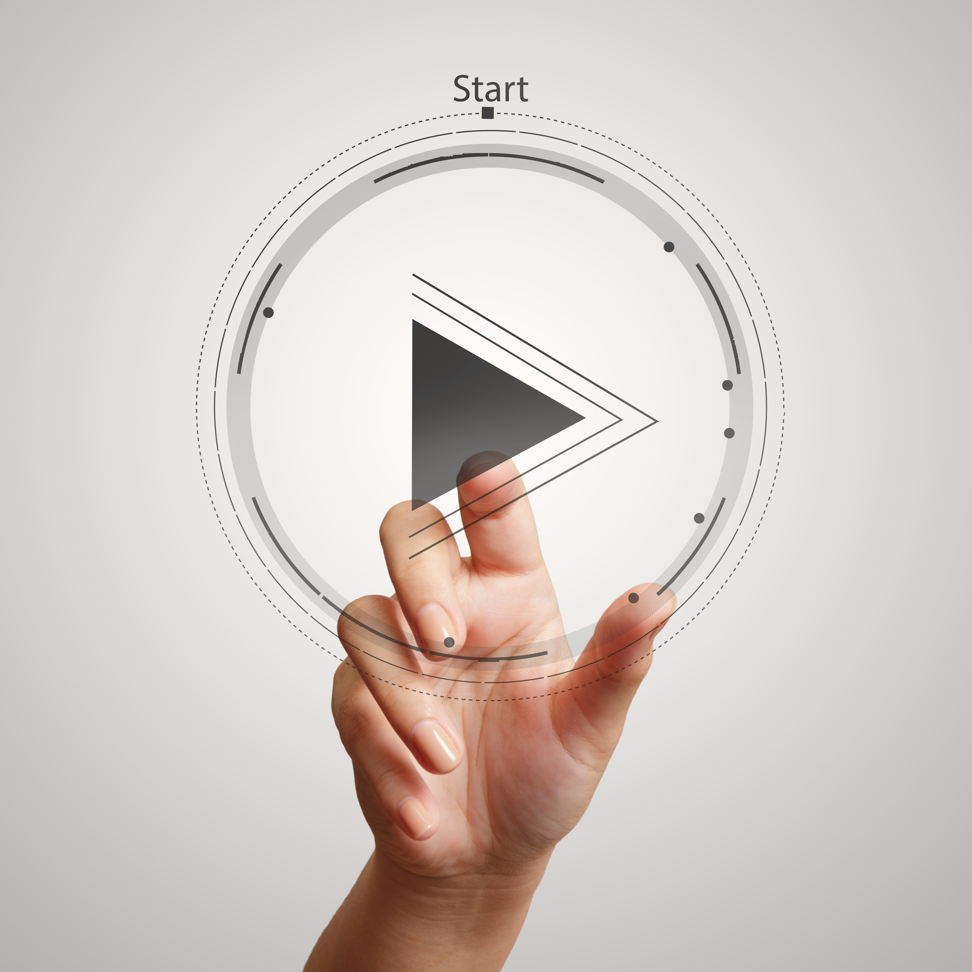 Hand press play button sign to start or initate projetcts as con
