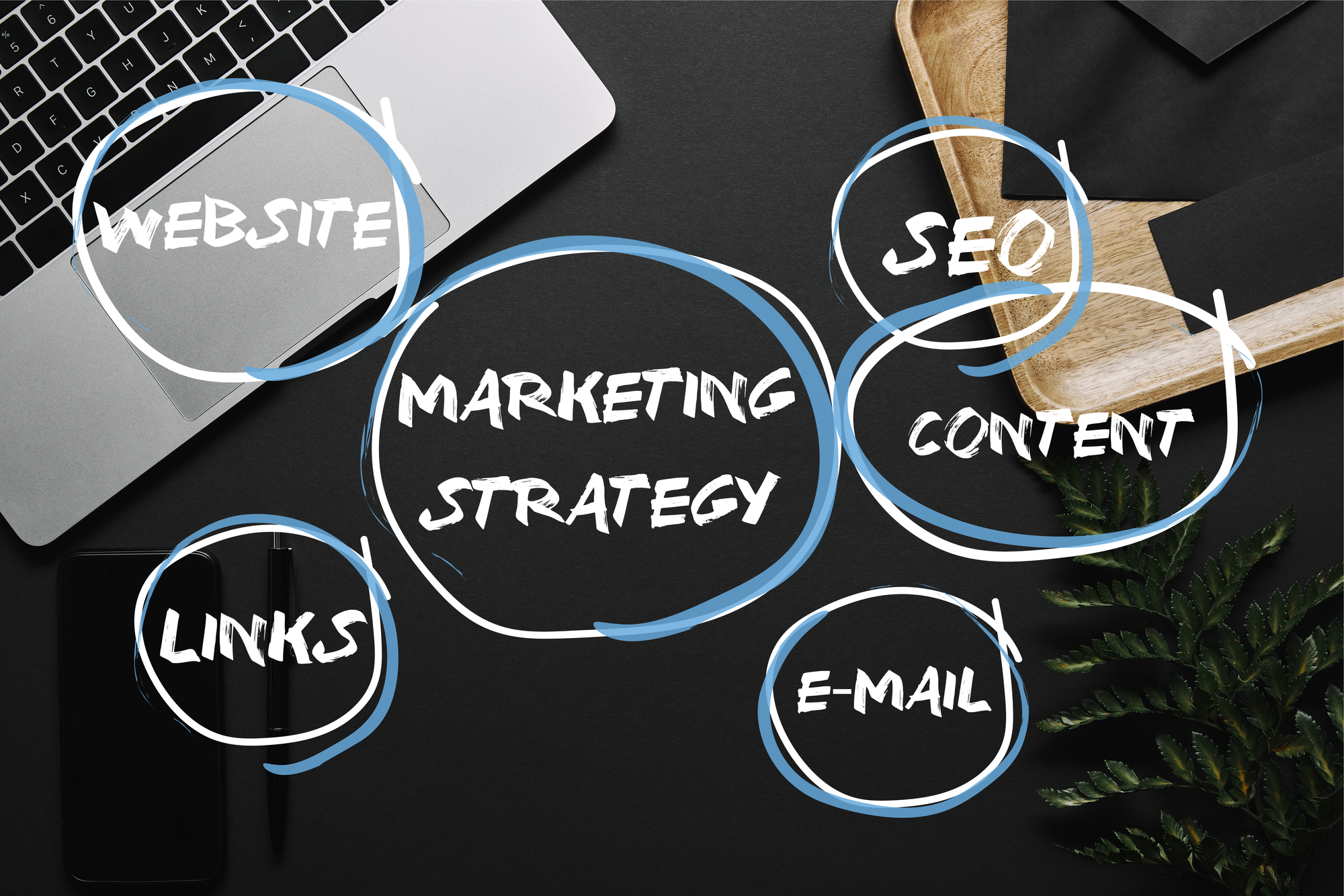 Smartphone Laptop Black Background Marketing Strategy Seo Content Mail Links