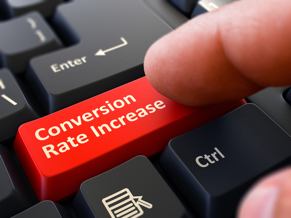 Conversion Rate Increase Red Button - Finger Pushing Button of Black Computer Keyboard. Blurred Background. Closeup View. 3d Illustration.-1